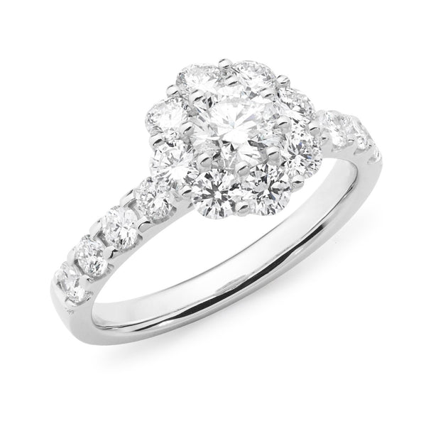 1.62ct Round Brilliant Cut Diamond Claw Set Cluster Engagement Ring in 18ct White Gold