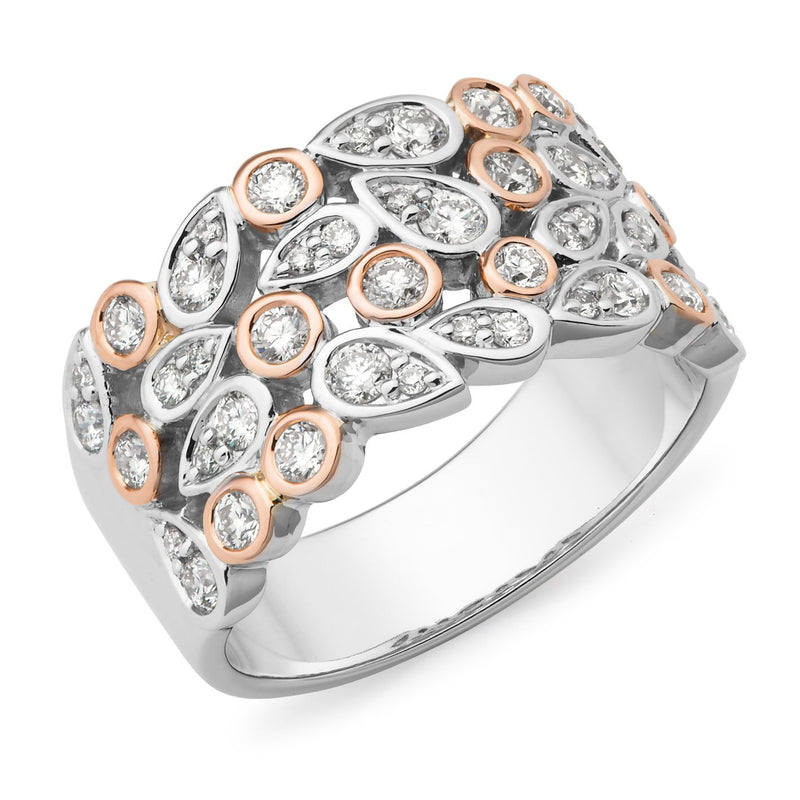 0.87ct Diamond Bead/Bezel Set Diamond Dress Ring in 9ct White & Rose Gold