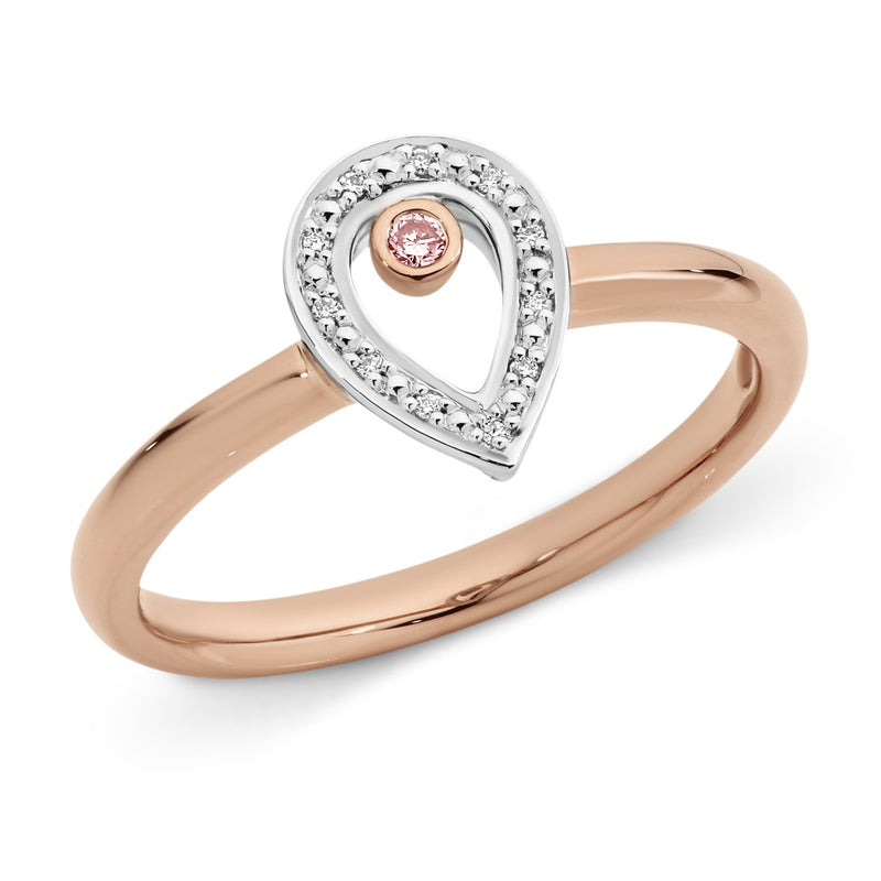 PINK CAVIAR 0.037ct Pink Diamond Ring in 9ct Rose & White Gold