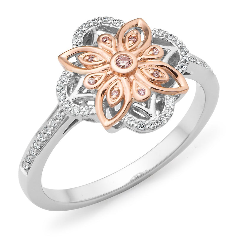 PINK CAVIAR 0.111ct Pink Diamond Ring in 9ct White & Rose Gold