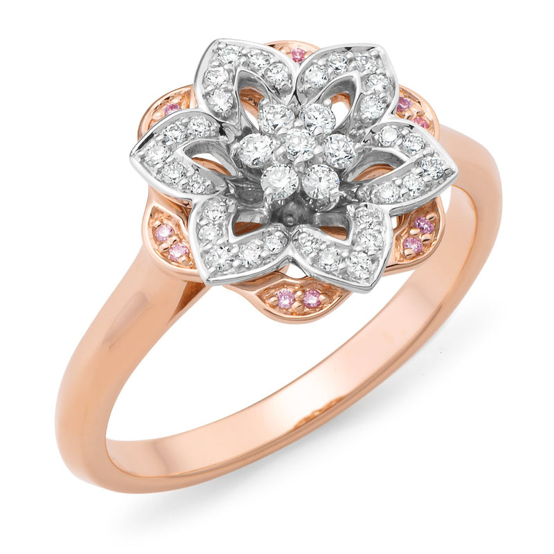 PINK CAVIAR 0.243ct Pink Diamond Ring in 9ct Rose & White Gold