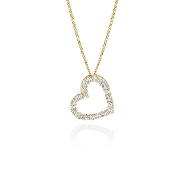 9Ct Gold Cubic Zirconia Heart Pendant