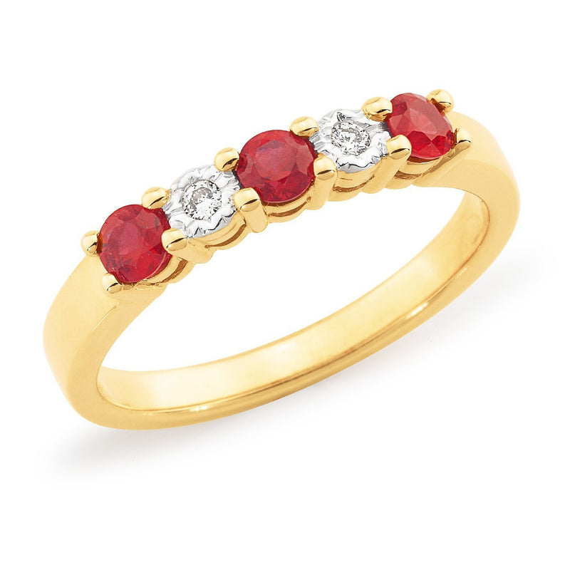 Ruby & Diamond Anniversary Ring in 9ct Yellow Gold