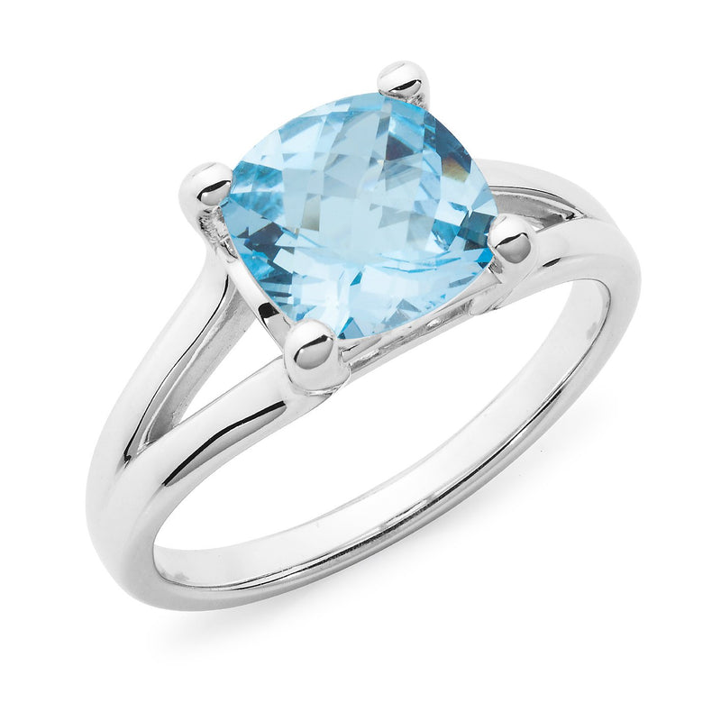 Blue Topaz 4 Claw Dress Ring in 9ct White Gold