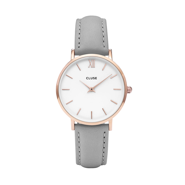 CLUSE Minuit Rose Gold White/Grey Ladies Watch