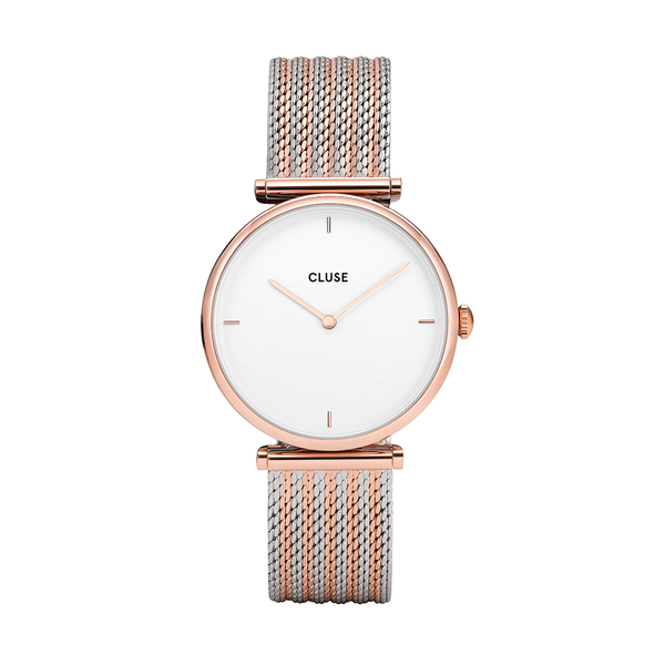CLUSE Triomphe Rose Gold Bicolour Mesh Ladies Watch