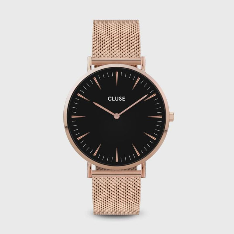 CLUSE La Boheme Mesh Rose Gold/Black Ladies Watch