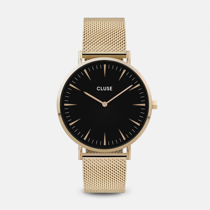 CLUSE La Boheme Mesh Gold/Black Ladies Watch
