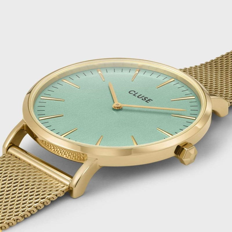 CLUSE La Boheme Gold Stone Green/Gold Mesh Ladies Watch
