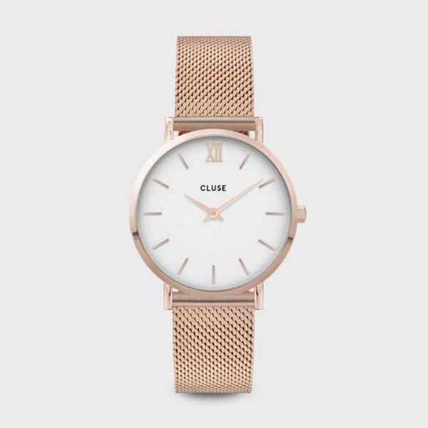CLUSE Minuit Mesh Rose Gold/White Ladies Watch