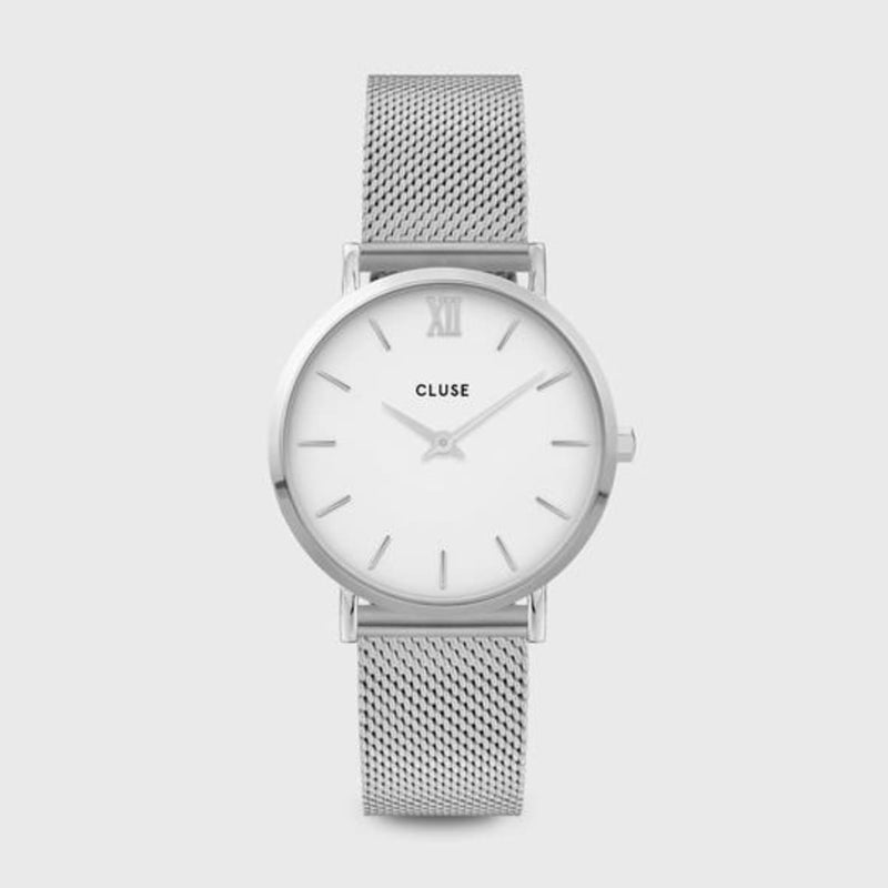 CLUSE Minuit Mesh Silver/White Ladies Watch