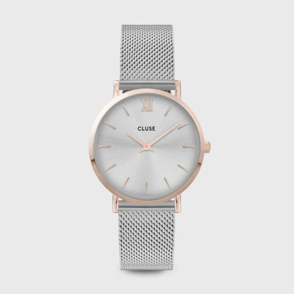 CLUSE Minuit Mesh Rose Gold/Silver Ladies Watch