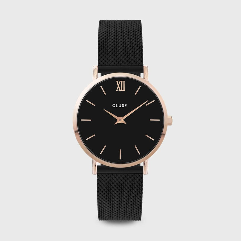 CLUSE Minuit Mesh Rose Gold Black/Black Ladies Watch