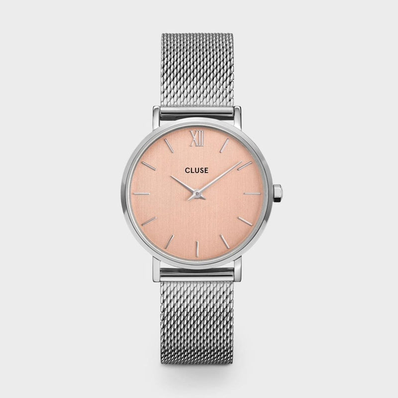 CLUSE Minuit Silver Rose Gold/Silver Mesh Ladies Watch