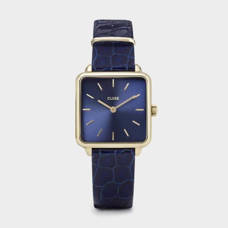 CLUSE La Tetragone Leather Gold Blue/Blue Alligator Ladies Watch