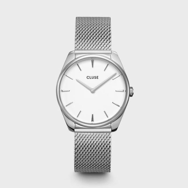 CLUSE Feroce 33 Silver White/Silver Mesh Ladies Watch