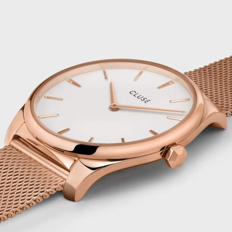 CLUSE Feroce 33 Rose Gold White/Rose Gold Mesh Ladies Watch