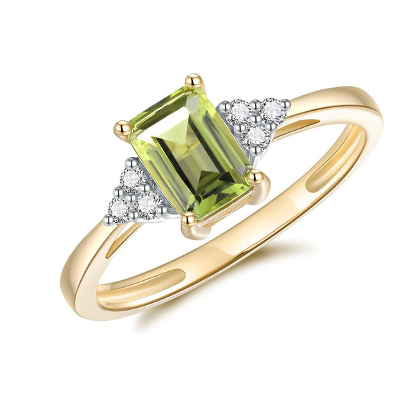 9Ct Gold Peridot & Diamond Ring