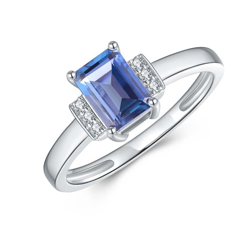 London Blue Topaz & Diamond Ring in 9ct White Gold