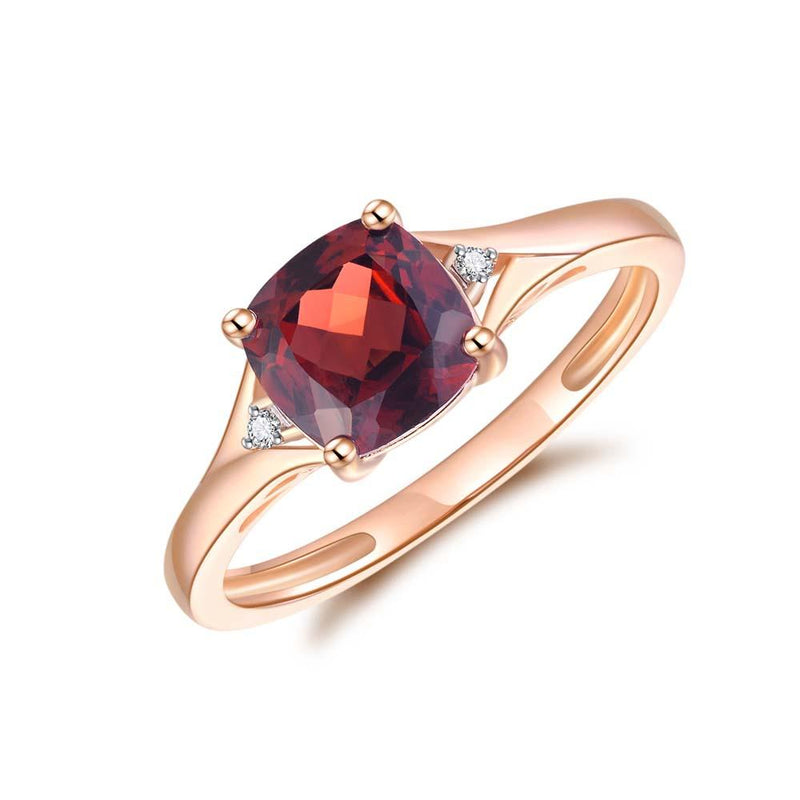 Garnet & Diamond Ring in 9ct Rose Gold