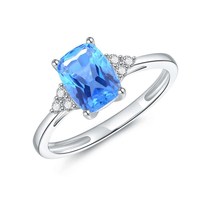 Blue Topaz & Diamond Ring in 9ct White Gold