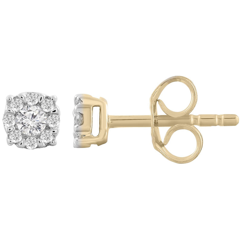 Stud Earrings with 0.15ct Diamonds in 9K Yellow Gold