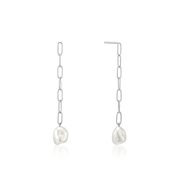 Ania Haie Silver Pearl Chunky Drop Earrings