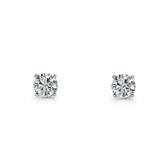 Sterling Silver 4mm Cubic Zirconia Claw Set Stud Earrings