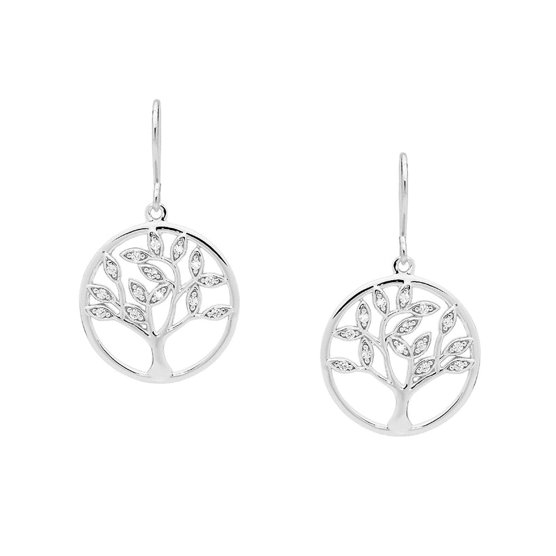 Sterling Silver Cubic Zirconia Tree of Life Earrings on Shp/Hook