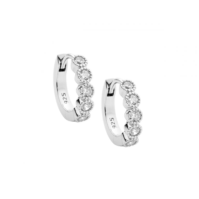 Sterling Silver Cubic Zirconia Crown Set Hoop Earrings
