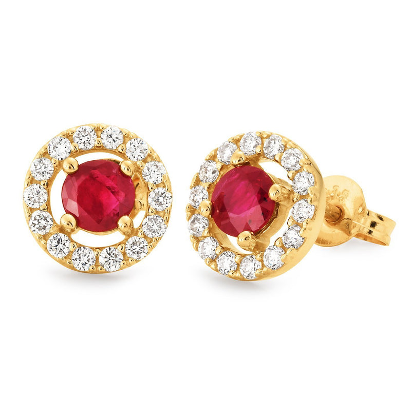 Ruby & Diamond Claw/Bead Set Stud Earrings in 9ct Yellow Gold