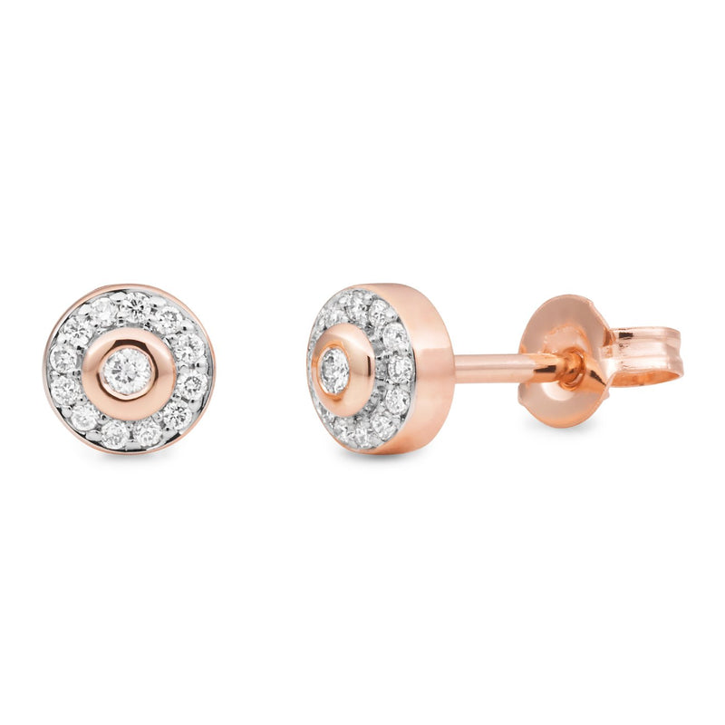 Diamond Bezel/Bead Set Diamond Earrings in 9ct Rose Gold