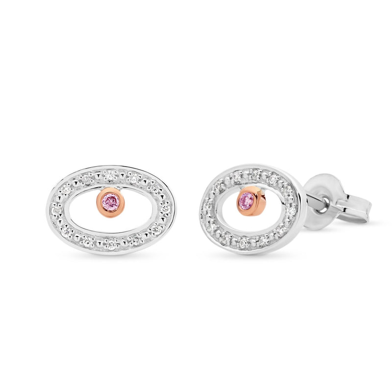 PINK CAVIAR 0.02ct Pink Diamond Earrings in 9ct White Gold