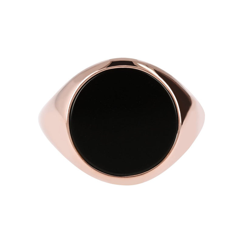 Bronzallure Black Onyx Disc Rings