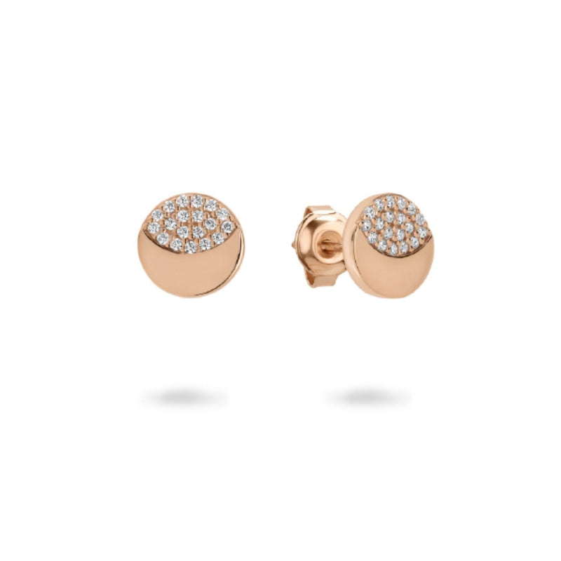 Georgini - Slate Rose Gold Plated Sterling Silver Cubic Zirconia Stud Earrings