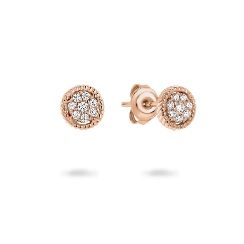 Georgini - Mica Rose Gold Plated Sterling Silver Cubic Zirconia Stud Earrings