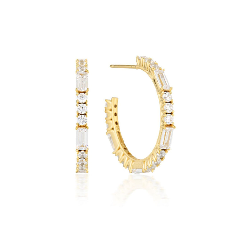 Georgini - Irina Medium Gold  Cubic Zirconia Hoop Earrings