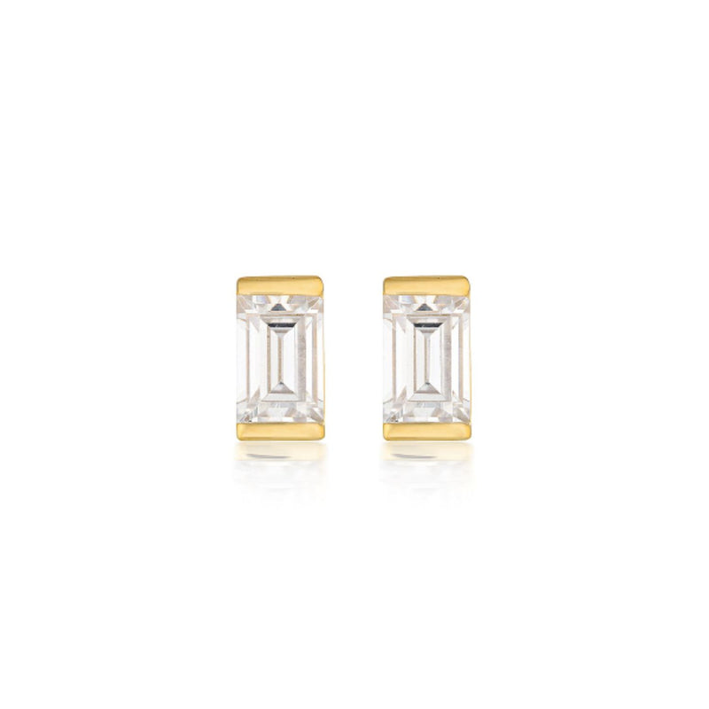 Georgini - Mosaic Baguette Gold  Cubic Zirconia Stud Earrings