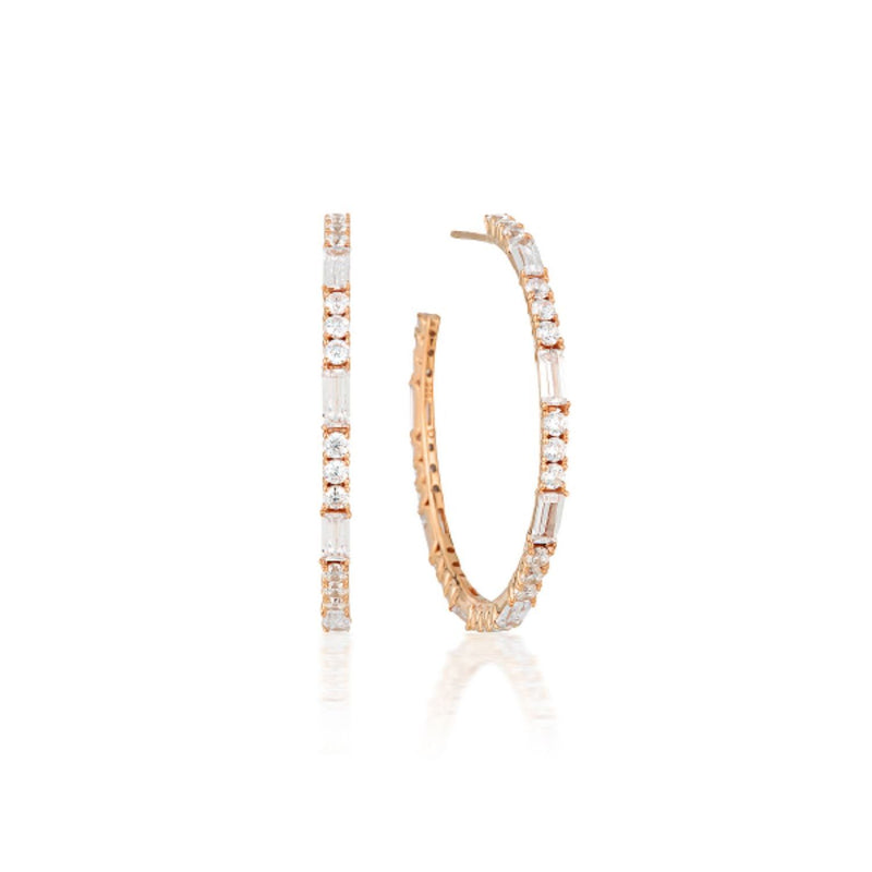 Georgini - Irina Large Rose Gold Plated Sterling Silver Cubic Zirconia Huggie Earrings