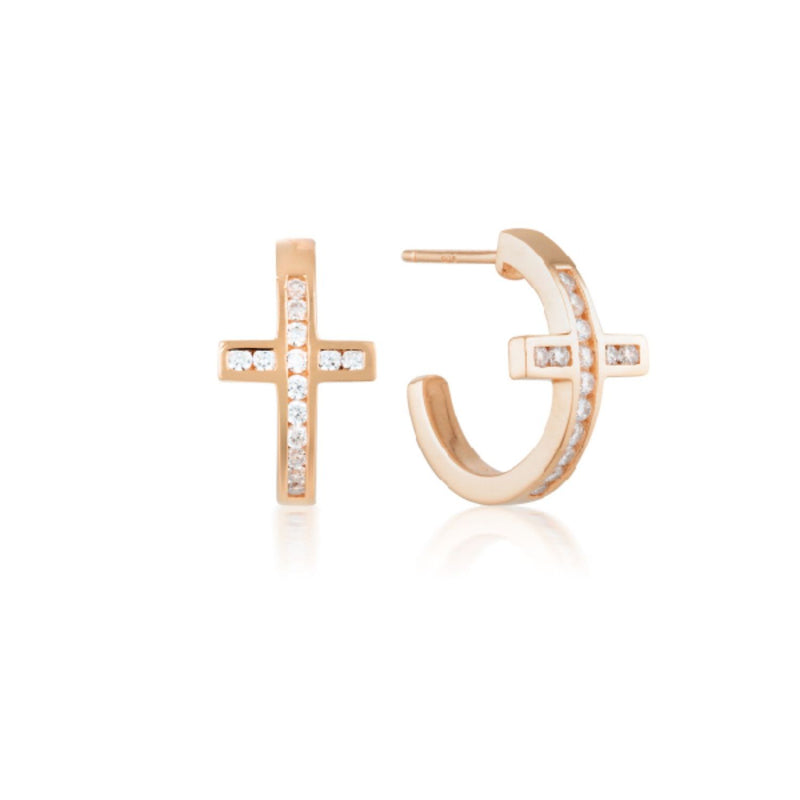 Georgini - Spiritus Rose Gold Plated Sterling Silver Cubic Zirconia Huggie Earrings