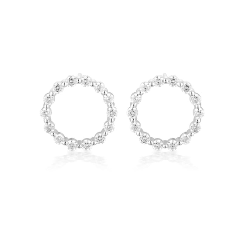 Georgini-Circle Of Life Small Sterling Silver Cubic Zirconia Stud Earrings