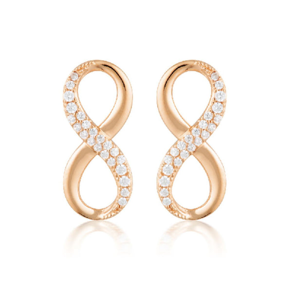 Georgini-Forever Infinity Rose Gold Plated Sterling Silver Cubic Zirconia Stud Earrings