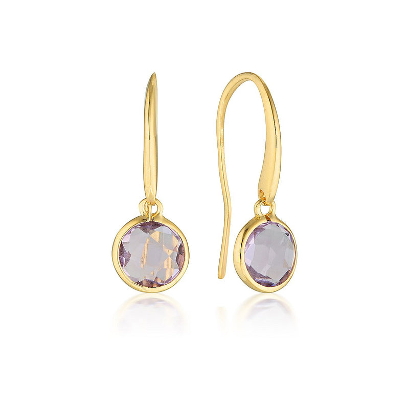 Georgini - Lucent Sterling Silver Amethyst Drop Earrings Small