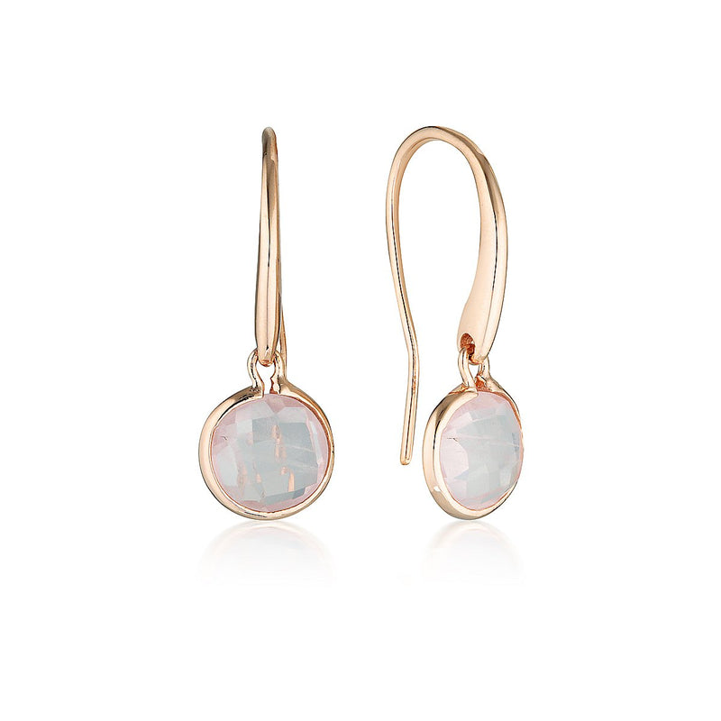 Georgini - Lucent Sterling Silver Rose Quartz Drop Earrings Small