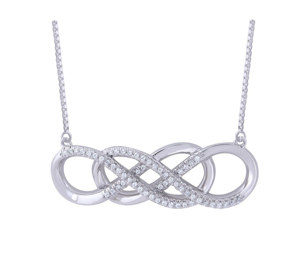 Necklace with 0.1ct Diamonds in 9K White Gold