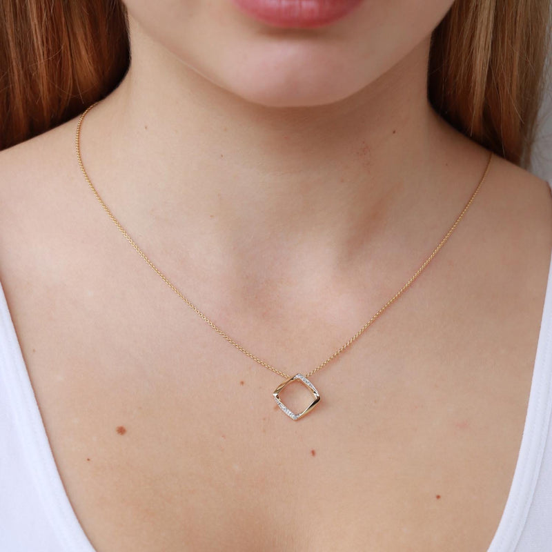 Open Square Pendant with 0.04ct Diamond in 9K Yellow Gold