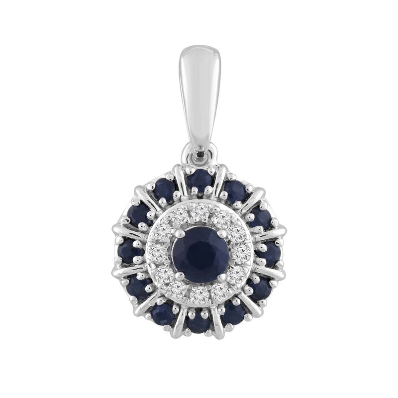 Sapphire and Diamond Pendant in 9K White Gold