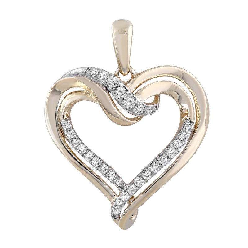 Heart Pendant with 0.15ct Diamond in 9K Yellow Gold