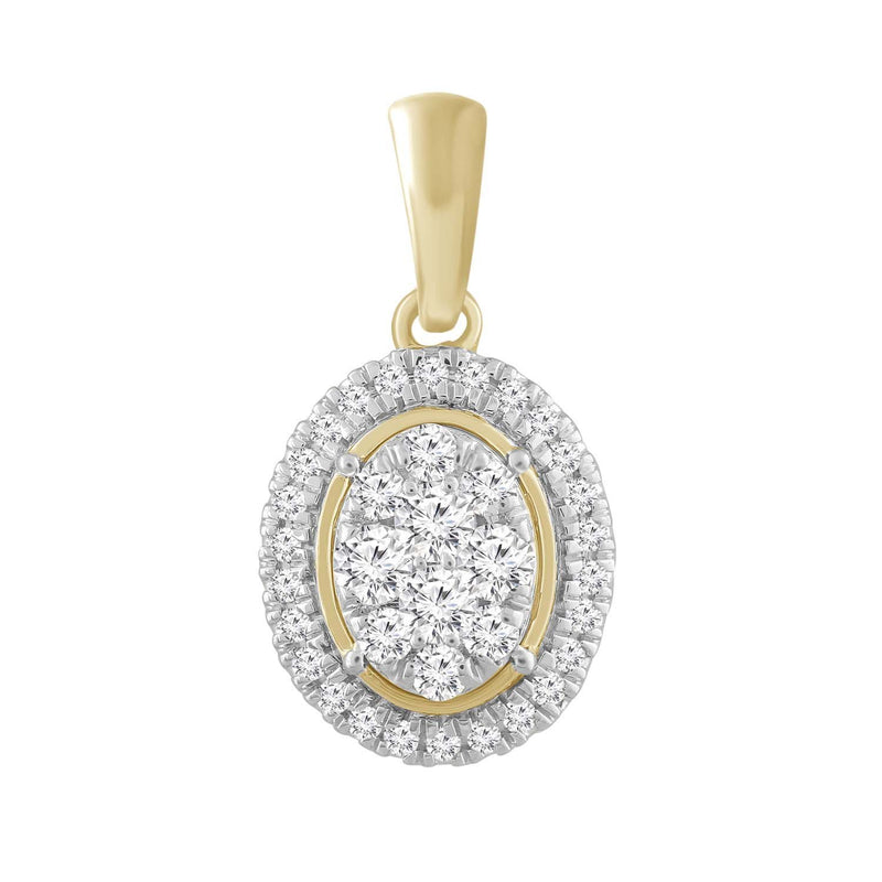 Oval Pendant with 0.25ct Diamond in 9K Yellow Gold