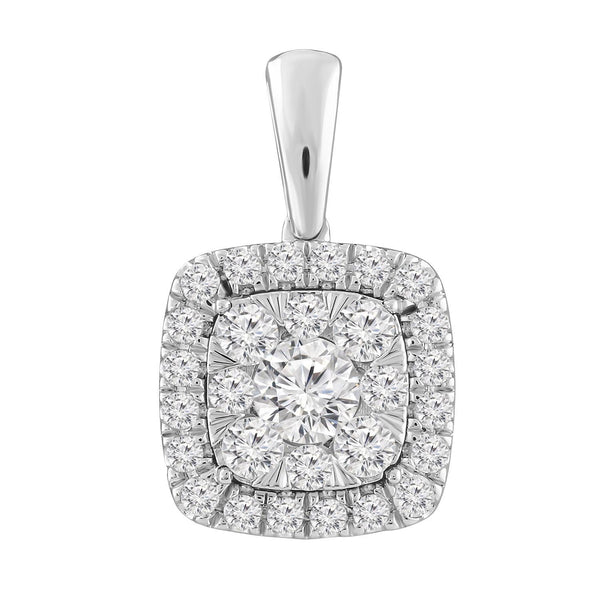 Necklace and Pendant with 0.5ct Diamonds in 9K White Gold